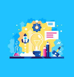 flat laboratory ideas with rocket message vector image