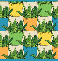 Fowers in a pots seamless pattern vector