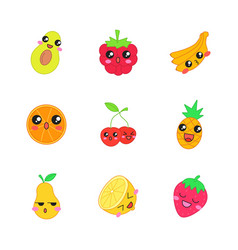 Fruits cute kawaii characters vector