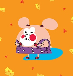 Funny chubby pink mouse with cheese vector image