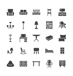 Furniture flat glyph icons living room tv vector