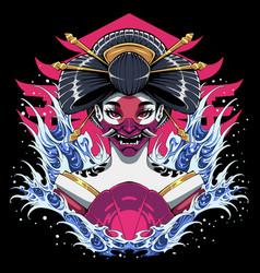 geisha head mascot logo design vector image