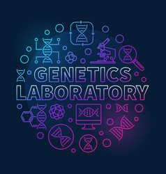 Genetics laboratory circular colored line vector