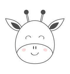 giraffe round face head line sketch icon kawaii vector image