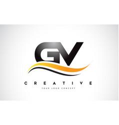 Gv g v swoosh letter logo design with modern vector