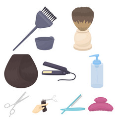 Hairdresser set icons in cartoon style big vector