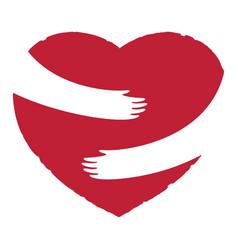 Hands embracing red heart vector