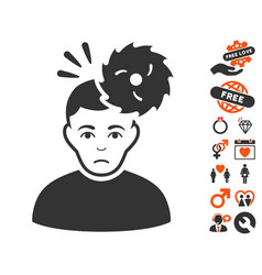 Headache icon with love bonus vector