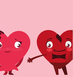Hearts couple emoticons characters vector