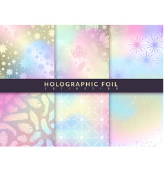 holographic foil patterns trend glitter design vector image