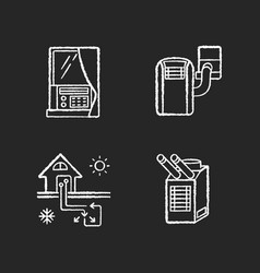 home conditioning chalk white icons set on black vector image