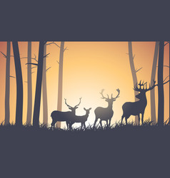 horizontal of wild animals in wood vector image