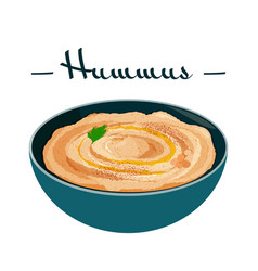 Hummus traditional arabic food from chickpea vector