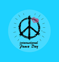 International peace day emblem with hippie symbol vector
