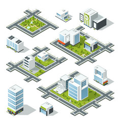 isometric city 3d with office vector image