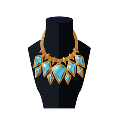 Jewelry necklace precious topaz stone on mannequin vector