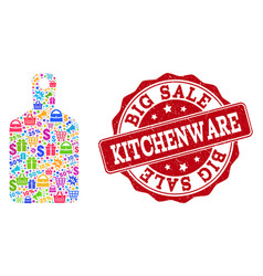 kitchenware composition of mosaic and distress vector image