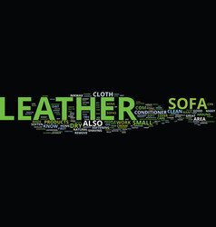 Leather sofa care text background word cloud vector