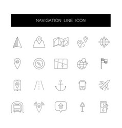 line icons set navigation pack vector image
