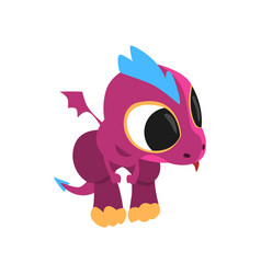 Little purple dragon with curious muzzle and vector