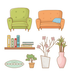 livingroom set elements isolated icons vector image