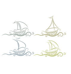 Logos boats with wave vector