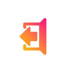 Logout arrow icon sign out vector