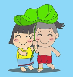 Lotus Leaf Boy and Girl vector