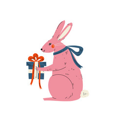 lovely pink bunny sitting with gift box cute vector image