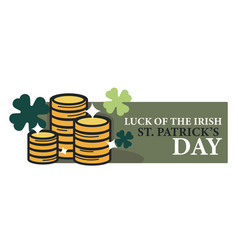 luck of irish saint patrick day isolated icon gold vector image