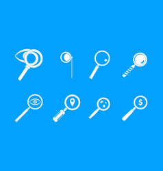 magnifying glass icon blue set vector image