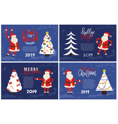 merry christmas card santa 2019 new year holiday vector image