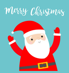 merry christmas santa claus holding hands up vector image