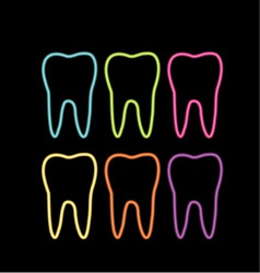 Neon tooth icon vector image