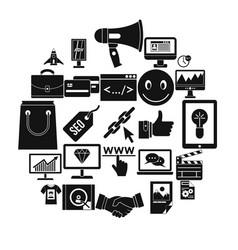online profit icons set simple style vector image