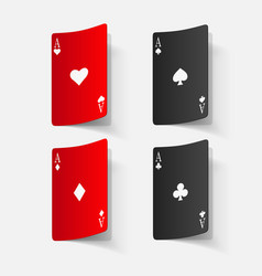Paper sticker playing card vector