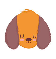 pet little cute puppy head cartoon isolated white vector image