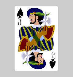 Playing card jack spades in funny flat modern vector