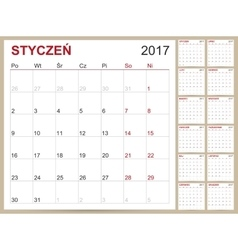 Polish Calendar 2017 vector