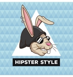 portrait fun rabbit hipster style furry geometric vector image