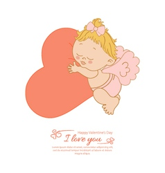 Postcard Valentines Day with angel and heart vector image