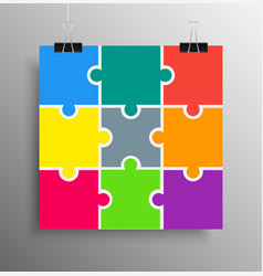 Poster banner nine pieces puzzle infographic vector