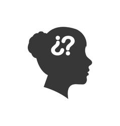 Question mark woman head icon graphic vector