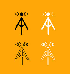 radio tower black and white set icon vector image
