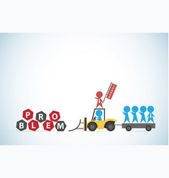 Red businessman lead blue businessmen and tractor vector