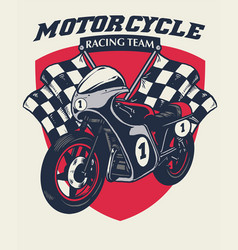 Retro motorcycle racing badge design vector