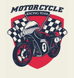 retro motorcycle racing badge design vector image
