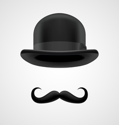 Rich gentleman with moustaches and bowler hat vector