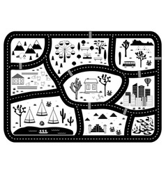 road mountains and woods adventure map kids play vector image