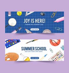 School banner design with clip pen basketball vector